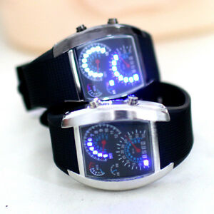 RPM-Turbo-Blue-White-Flash-LED-Watch-BRAND-NEW-Gift-Sports-Car-Meter-Dial-Men
