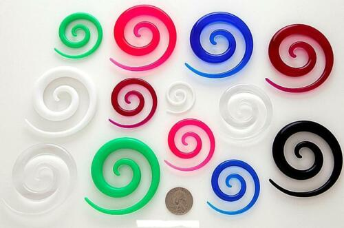 PAIR 8g Large Oversized Acrylic Spiral Ear Taper Expander Gauges You Pick Color