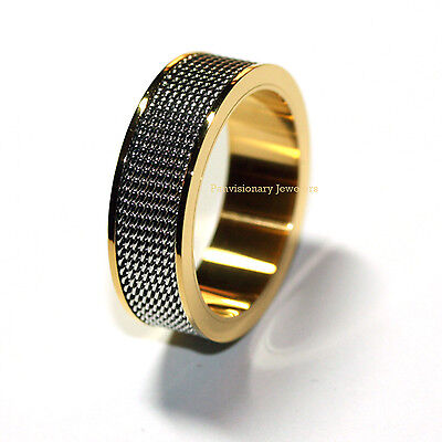 Stainless Steel Men's Ring Gold IP Wire Mesh Feature  Band