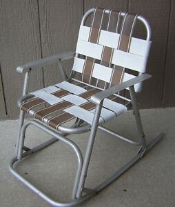 ... Vintage ALUMINUM ROCKER Kids Folding ROCKING CHILDS LAWN