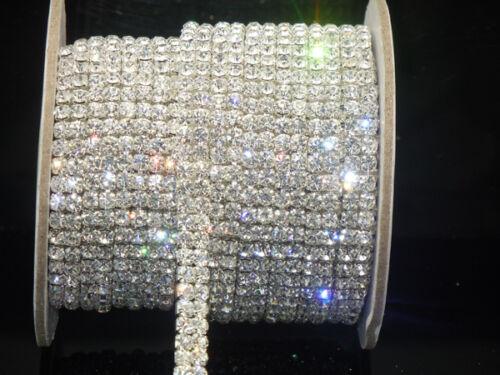 2-row clear crystal rhinestone trims close chain silver ss16 x 1 yard