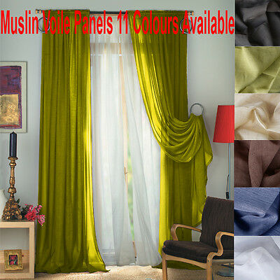 FIONA MUSLIN / VOILE SLOT TOP CURTAIN PANELS