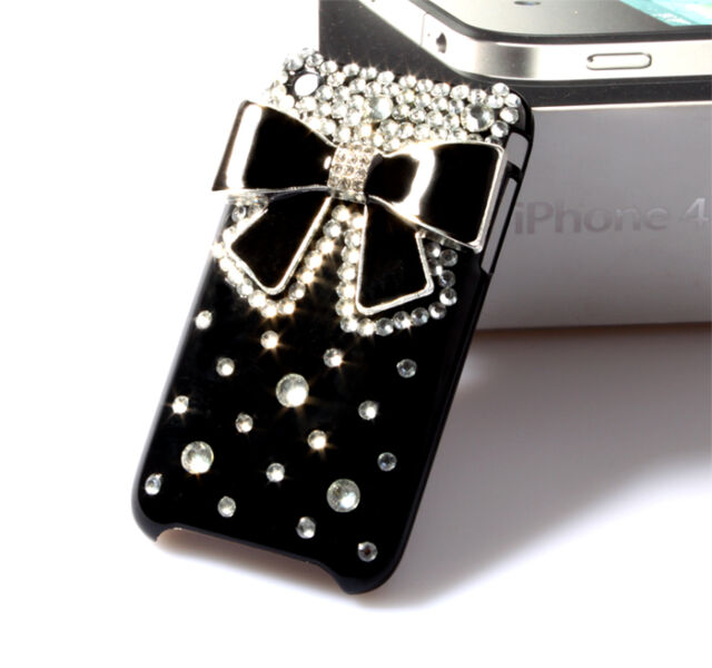 Handemade Black Silver Bow Diamond Hard Case Cover For Apple iPhone 3G S 3GS