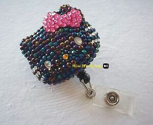 Crystal-Black-AB-Stone-Hello-Kitty-Retractable-ID-Card-Badge-Holder