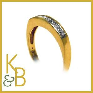 Ladies18ct-Gold-0-33ct-9-Stone-Princess-Cut-Dia-Ring-SIZE-O-1-2-34050-SALE