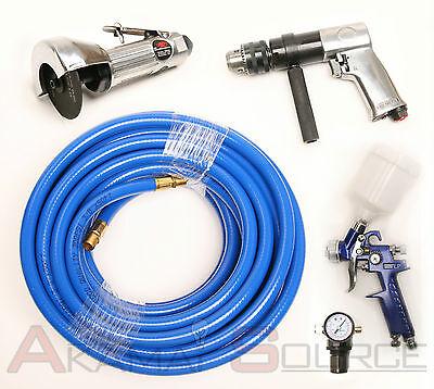Air Tool Package Starter Kit 4pc Drill, Cutoff, HVLP Spray Gun, Air Hose Tools