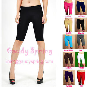 HOT-STRETCH-BIKE-SHORTS-ATHLETIC-SPANDEX-TIGHTS-XS-S-M-L-MULTI-COLOR-KNEE-LENGTH