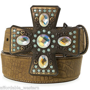Nocona ~ Leather BELT & Chunky BUCKLE ~ Cross CRYSTALS 82