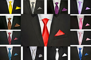 NEW-Mens-Tie-Tie-Handkerchief-Pocket-Square-Business-Wedding-30-Colours-NEW