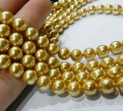 """8mm gold akoya Round Shell Pearls Beads 15"""""""