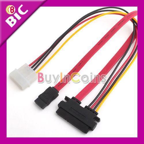 7 Pin SATA Data / 4 Pin IDE to 15 Pin SATA Power Cable SA3