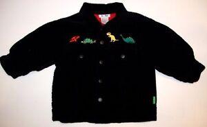 Baby-Boy-LE-TOP-Black-Corduroy-Dinosaur-Coat-Jacket-Size-12-Months-M