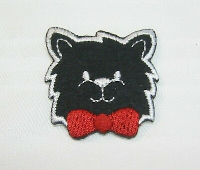 """Happy Black Cat"" Iron On Patch children Embroidered Applique Jacket Shirt Pants"