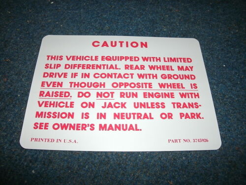 1964-1970 CHEVROLET GMC TRUCK POSI TRACTION WARNING DECAL STICKER NEW