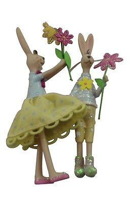 Gisela Graham Easter Bunny Decorations - Set of 2 Easter Garden Fabric Bunnies