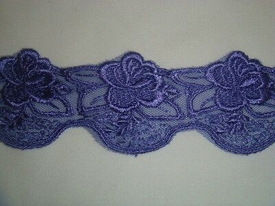 "Embroidered Lavender Floral Tulle DOUBLE scalloped lace Trim 1 7/8 "" US SHIPPER"
