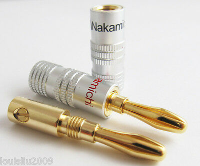 10pcs Nakamichi Gold Plated Copper Speaker Banana Plug Male Connector