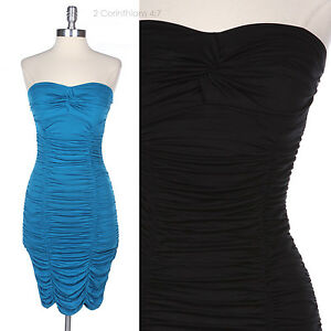 Sexy-Strapless-Ruched-Shirred-Tight-Fit-Clubbing-Pencil-Dress-Cocktail-Party