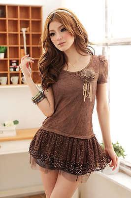 A8325 Japan Korea Fashion Women Lady Hot Brown Floral Mesh Princess Top W/Brooch