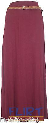Womens Long Gypsy Skirt Ladies Belted Jersey Maxi Sexy Shakira Dress Casual 8-14