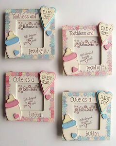 BABY PHOTOFRAME - Choice of 2 inscriptions -Pink- Blue - Wood - BOY - GIRL- GIFT