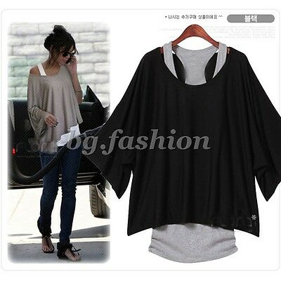 Women's Batwing Dolman Sleeve T shirt Casual Loose Top Blouse + Tank Vest 2Pcs