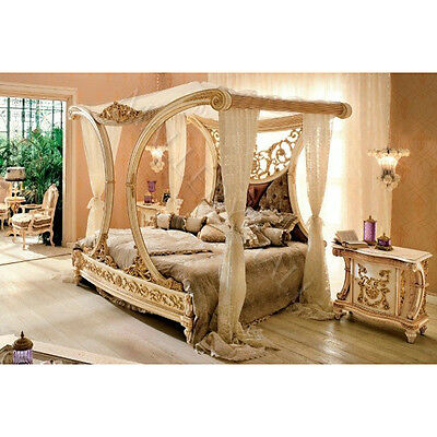 Beautiful Royal Golden Cleopatra Canopy Bed Hand Carved Solid Mahogany Crystals
