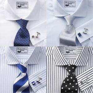 Charles-Wilson-Men-039-s-100-Cotton-Poplin-Double-Cuff-Formal-Business-Dress-Shirt