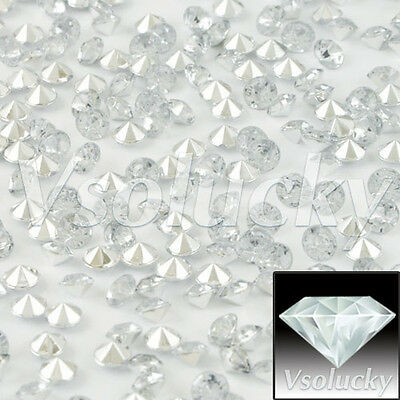 1000pcs Clear&Silver Diamond Confetti Wedding Table Scatter Decoration 4.5mm
