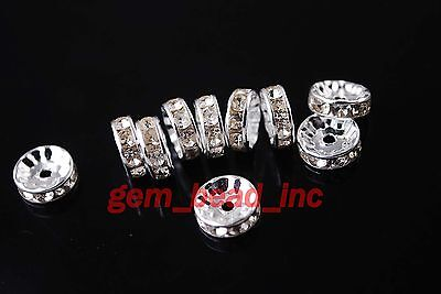 100pcs Crystal Rhinestone Rondelle Spacer Beads Findings 4/5/6/8/10/12mm