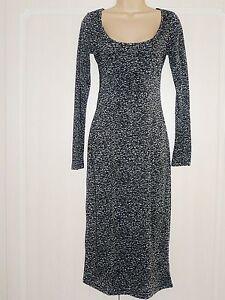 BNWT-NEXT-ladies-animal-black-grey-day-jersey-stretch-MAXI-dress-sizes-petite