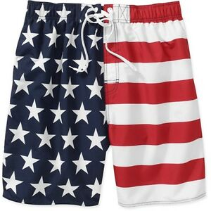 Faded-Glory-Mens-American-Flag-Swim-Trunk-Assorted-Sizes