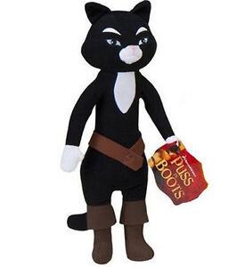 "Puss In Boots Kitty SoftPaws Shrek Plush animal Doll 12-14/"" black yellow cat toy"