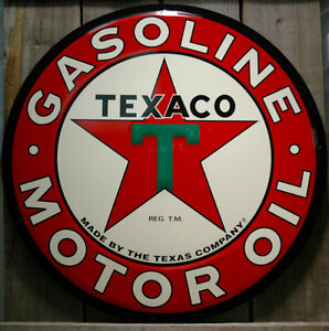 METAL-LARGE-24-ROUND-TEXACO-GASOLINE-AND-MOTOR-OIL-SIGN-TIN-SIGNS
