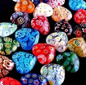 Lots-100pc-Multi-Colored-Shining-Heart-Lampwork-Millefiori-Glass-Beads-6mm-032