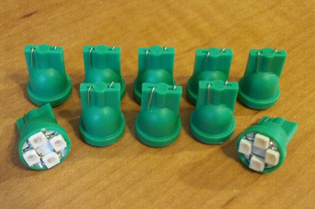 10 Green Dodge *SUPER BRIGHT* 12V LED 194 Wedge Instrument Panel Light Bulb NOS