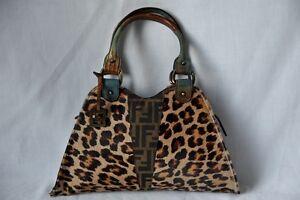 FENDI-Leopard-Lizard-Skin-DIAVOLO-DEVIL-TRAPEZIO-Bag-Shoulder-Handbag-Purse-NEW