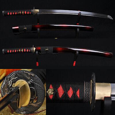 "31"" HANDMADE Japanese Samurai Sword WAKIZASHI Folded Steel BLADE CAN CUT TREE"