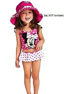 NEW-Disney-Minnie-Mouse-3D-Bow-Pink-White-Polka-Dot-2pc-Swimsuit-2T-5T-DEFECTS