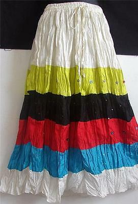 Ethnic Gypsy Boho crepe tiered skirt kurti top Belly dance costume India New