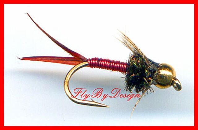RED Copper John Nymphs - Twelve Fly Fishing Flies, Choose Quantity and Hook Size