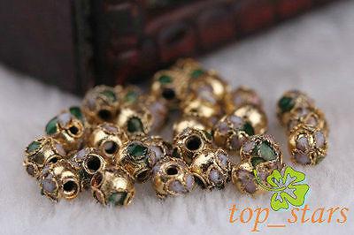 100 pcs Gold cloisonne Fit Charms Bracelet Spacer Bead 6mm CL3