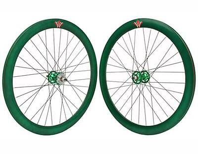 NEW 700c GREEN bike wheel V 51mm Alloy Wheel Set fixied gear road bicycle 296852