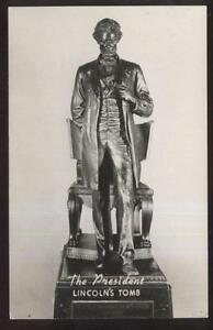 REAL-PHOTO-Postcard-SPRINGFIELD-IL-Lincoln-039-s-Tomb-Sculpture-Titled-THE-PRESIDENT