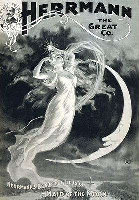 M1 Vintage Herrmann Magic Magician Maid Of The Moon Poster Print Re-Print A4