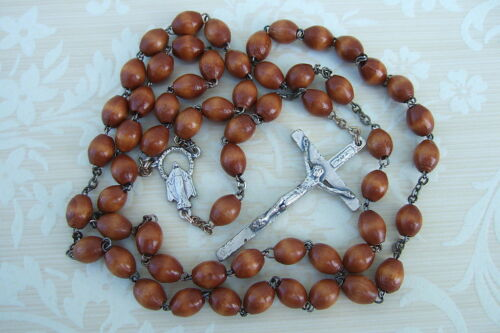Catholic Rosary BROWN WOOD 7mm beads Miraculous medal