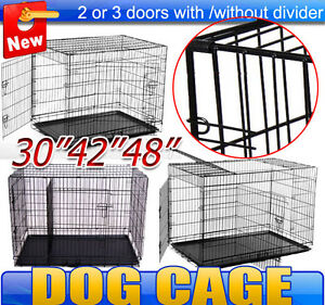 48-42-30-Dog-Cage-Folding-Metal-Dog-Crate-2-3-doors-Pet-Kennel-With-divider