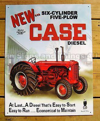 Case 500 diesel TIN SIGN metal vtg tractor poster wall decor farm scene art 1169
