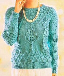 Unusual Aran Style Textured Tulip Tree Sweater Knitting ...