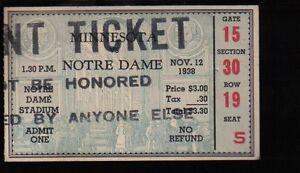 Nov. 12 1938 #2 Notre Dame vs #12 Minnesota Vintage ...